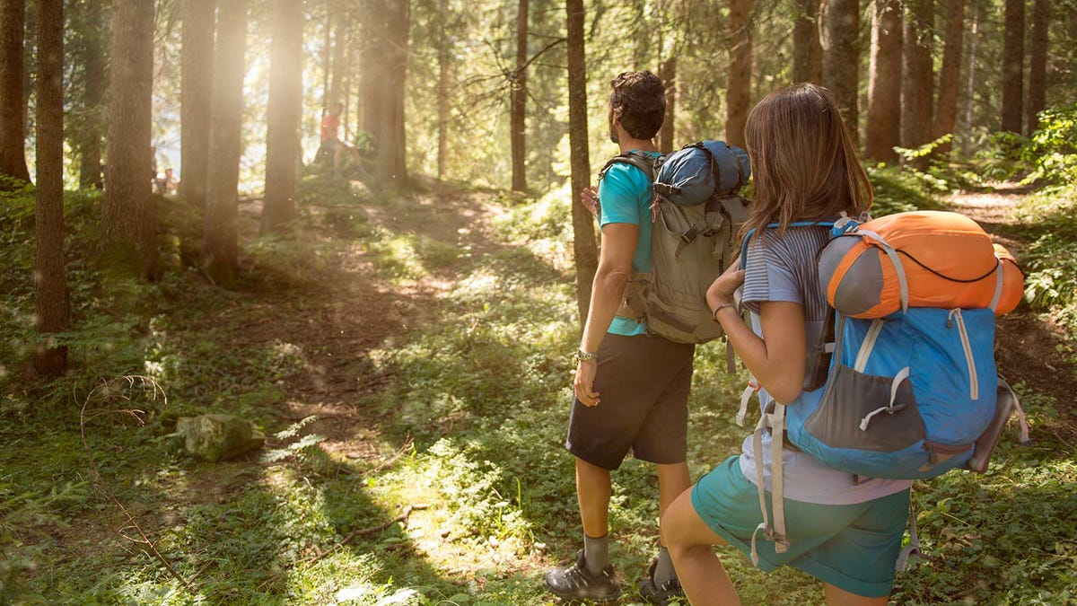 A man and woman hiking in the woods around sunrise.