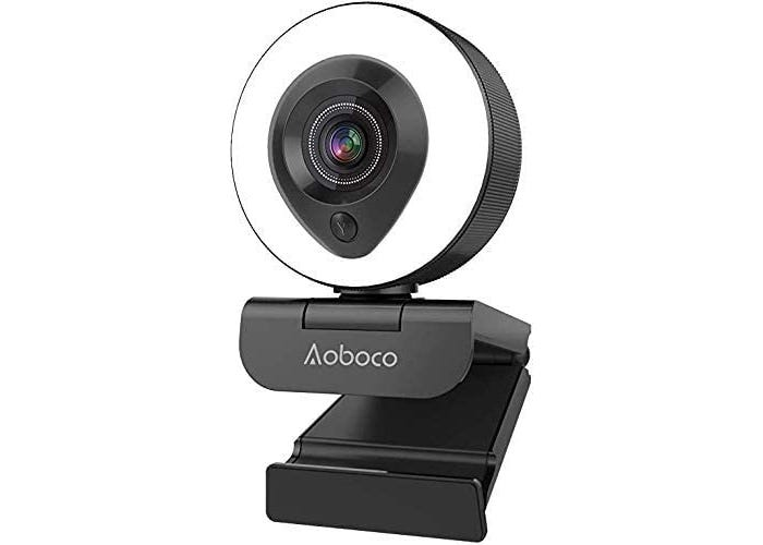 round white and black webcam on a black clip