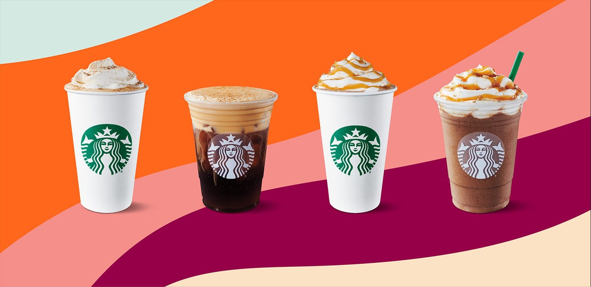 Starbucks fall lineup sits in front of a multicolored background.