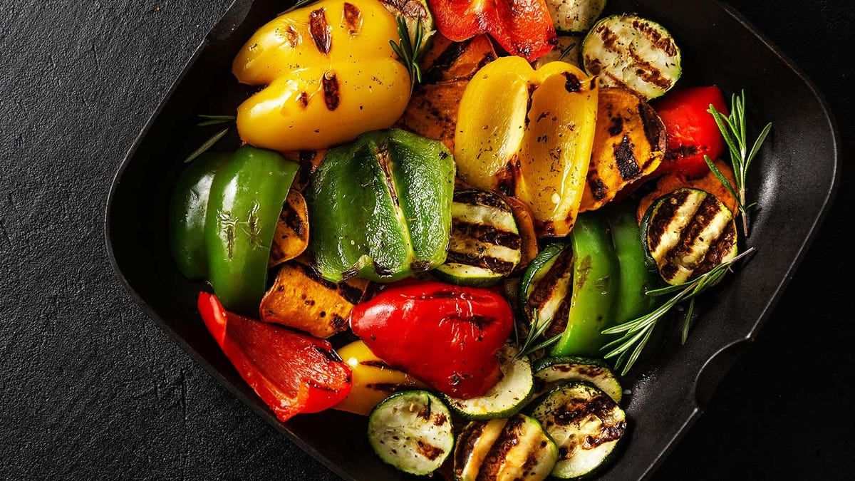 A pan full of grilled vegetables.