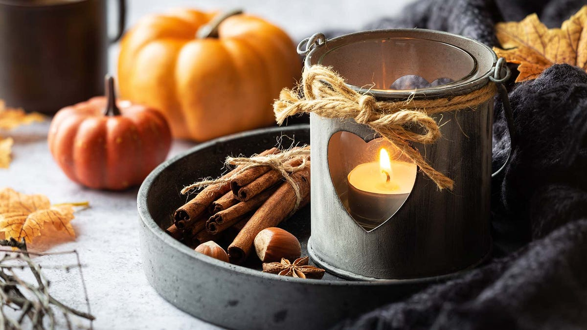 A tealight candle in a metal holder sitting on a tray next to pumpkins and cinnamon sticks.