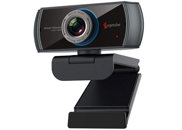 black and gray rectangular webcam on a black clip
