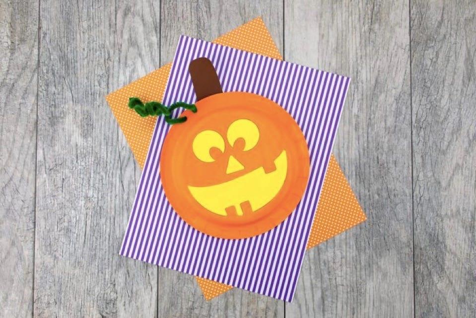 A paper plate jack-'o-lantern.