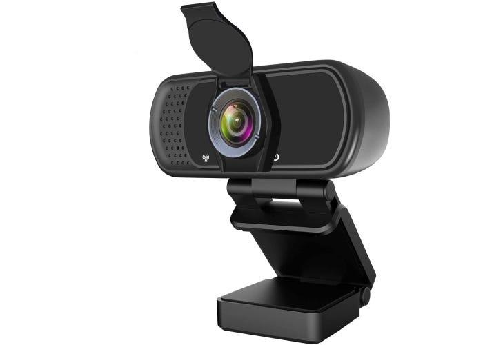 cylindrical black webcam on a black clip