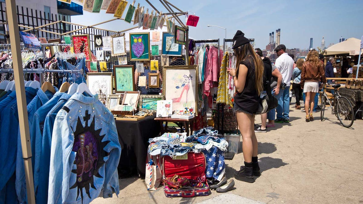A scene from the famous Brooklyn Flea Market in the Williamsburg neighborhood.
