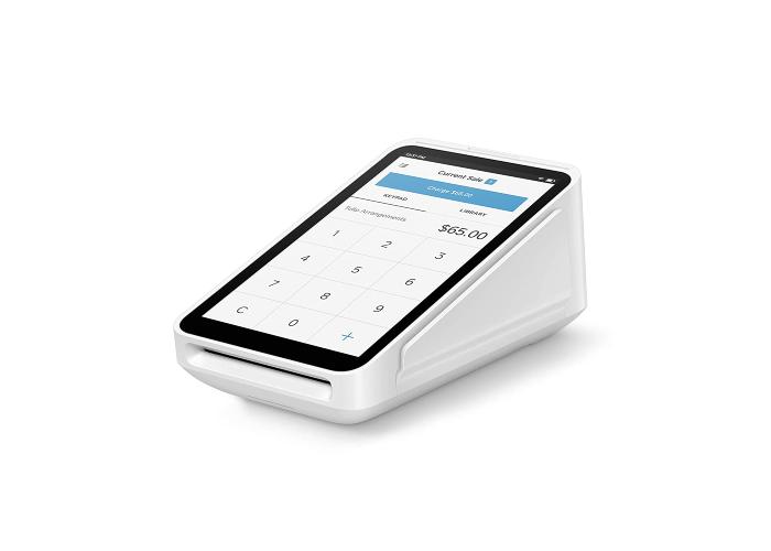 triangular white smart card reader holding a smartphone