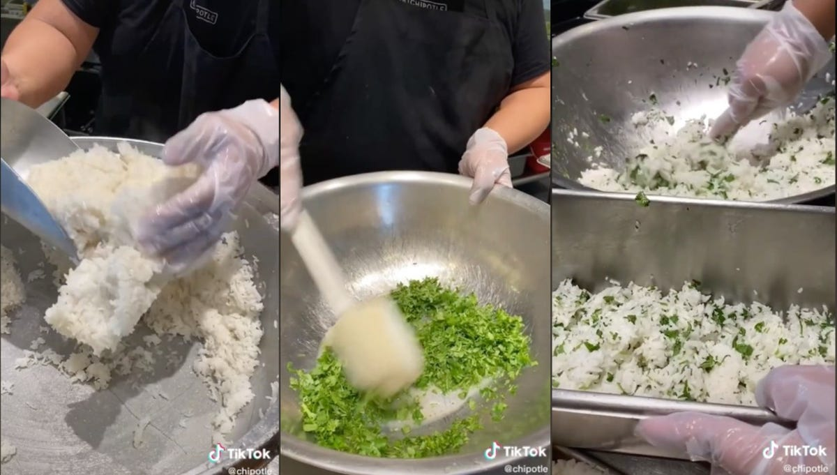 Three side-by-side shots of gloved hands mixing cilantro and rice in a large metal bowl.