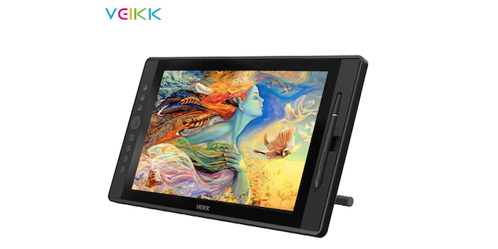 black drawing tablet showing a colorful sketch