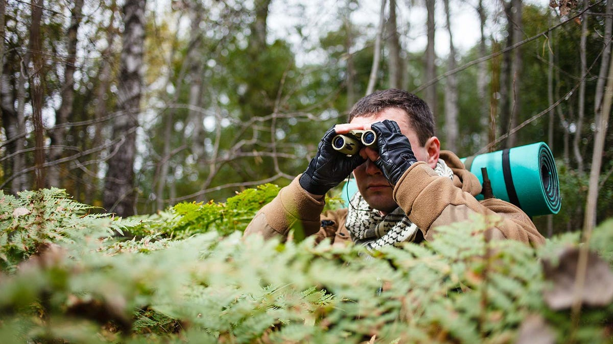 Man dressed in military gear, hidden in the brush and using binoculars to look at a distant target.