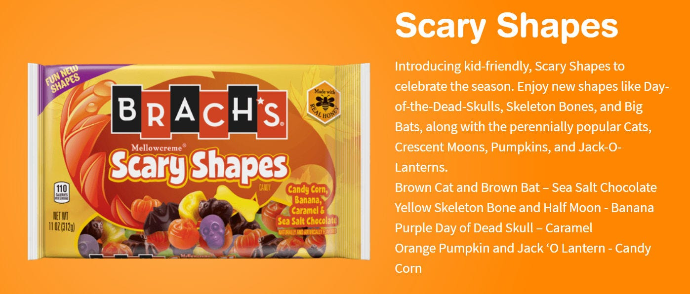 """Promotional image for the Brach's """"Scary Shapes"""" candies."""