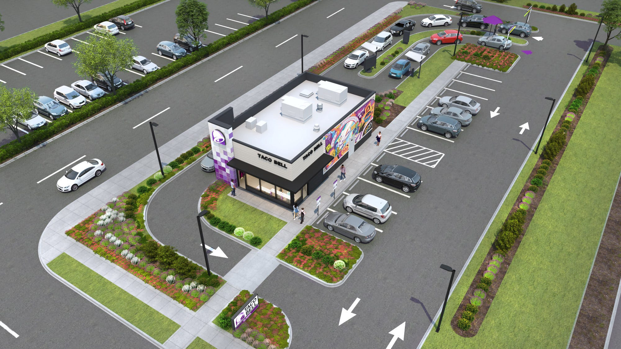 Taco Bell's new restaurant concept is mocked up in a digital drawing.