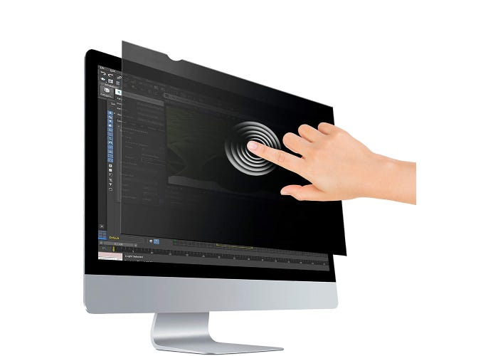 person touching a computer monitor through a black privacy screen