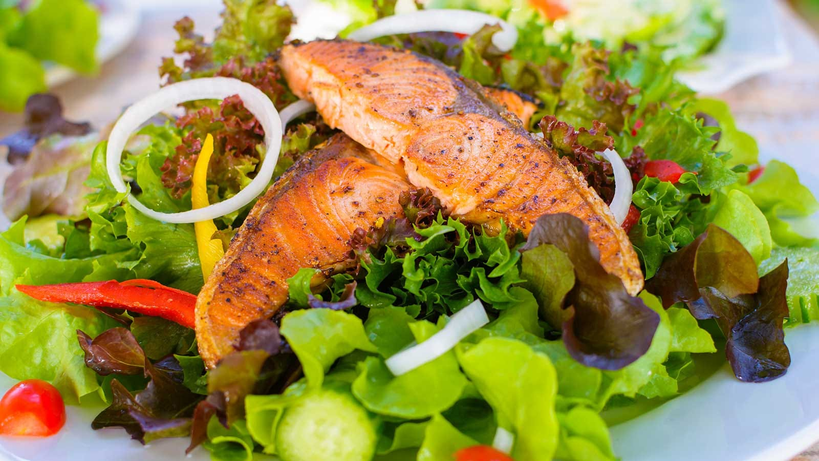 A colorful salad topped with grilled salmon.