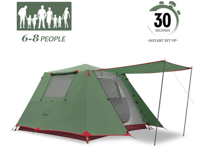 a green tent with a canopy extending over the front door