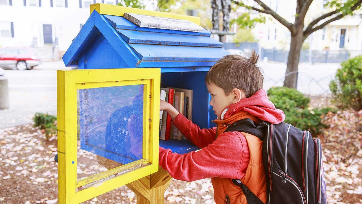 A boy picking out a book from a local Little Free Library.