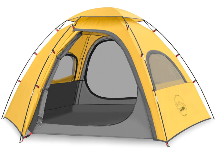 a small yellow open camping tent
