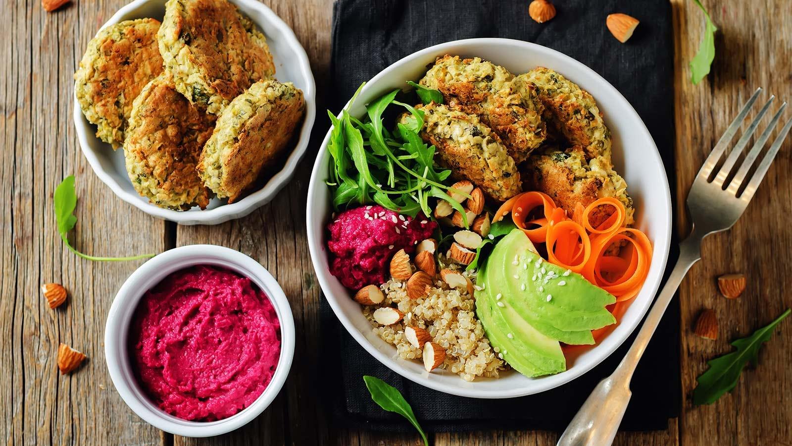 A quinoa, beet, and hummus falafel bowl.