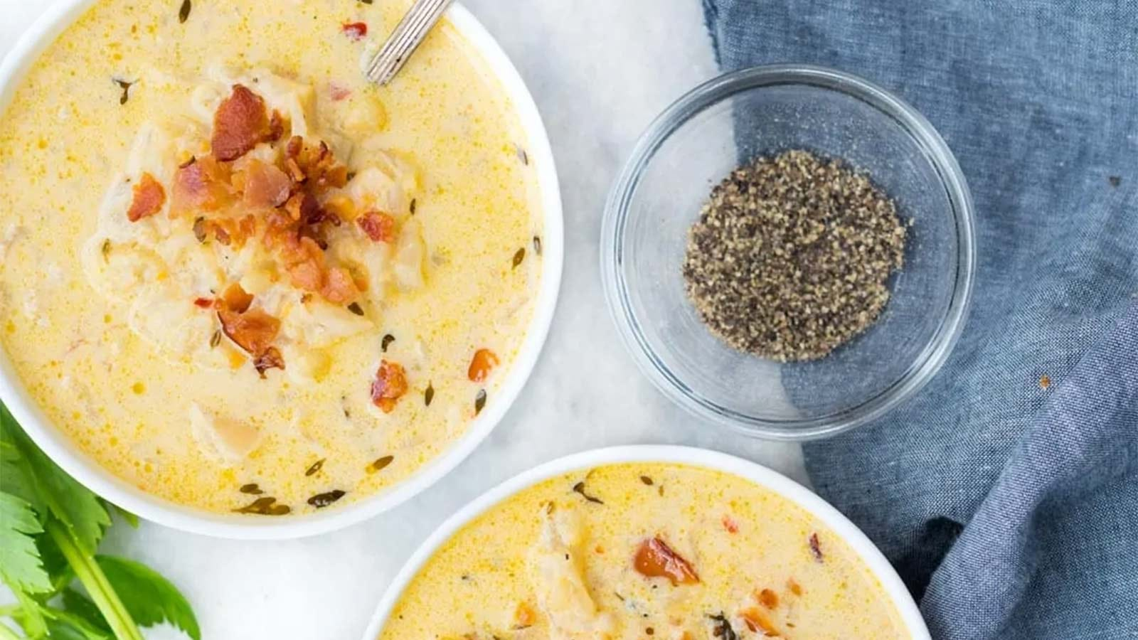 Cauliflower Cheddar Soup made in an Instant Pot.