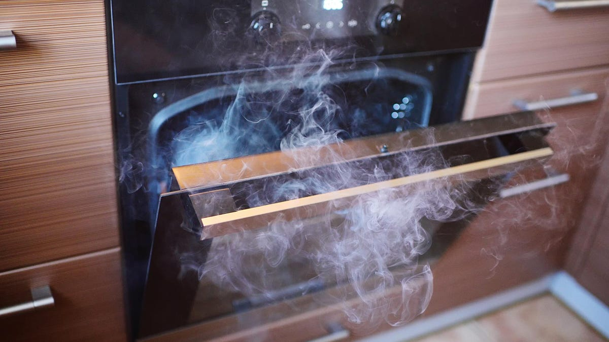 Smoke curling out of an open oven, obscuring the burnt food within.