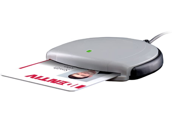 wired round gray smart card reader scanning an ID badge