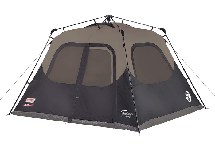 a Coleman navy and gray tent