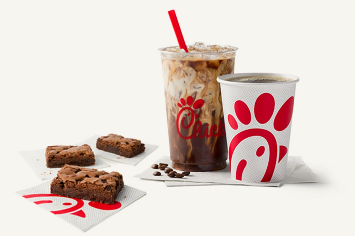 Three Chick-fil-A brownies and a Cream Cold Brew.