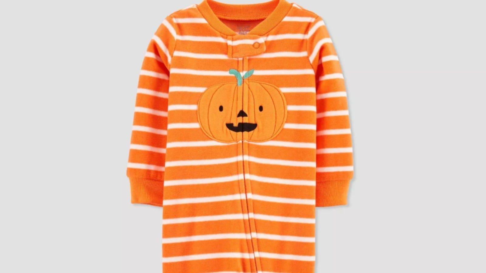 Carter's Pumpkin Fleece Pajamas.