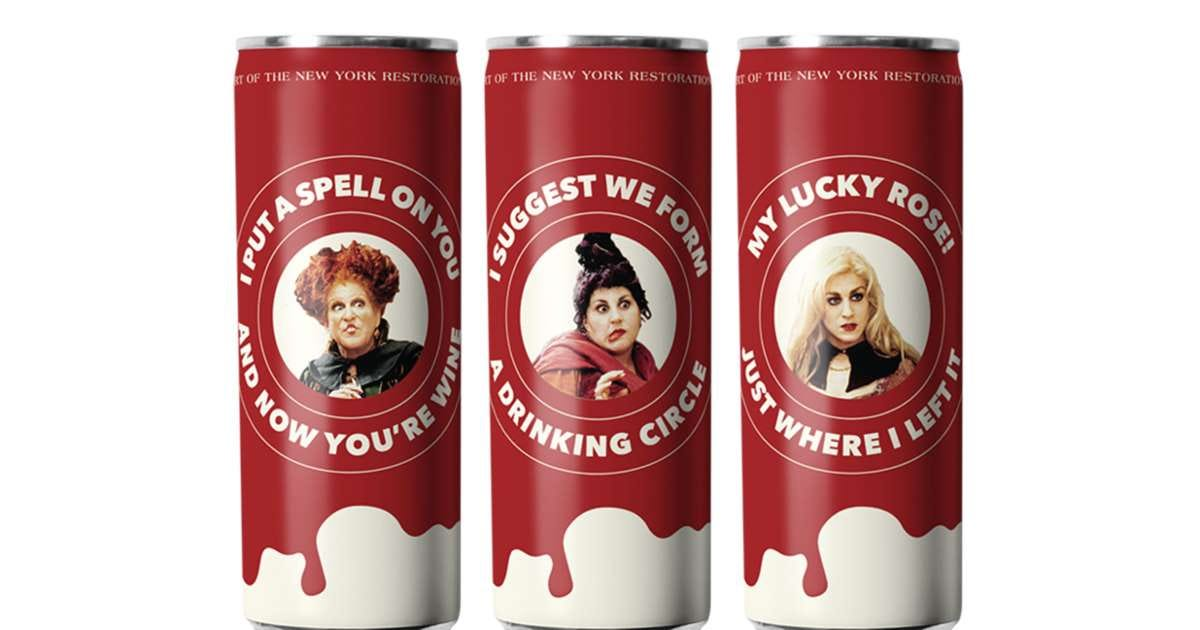 Three cans of rosé wine, each featuring a Sanderson sister and her catchphrase.