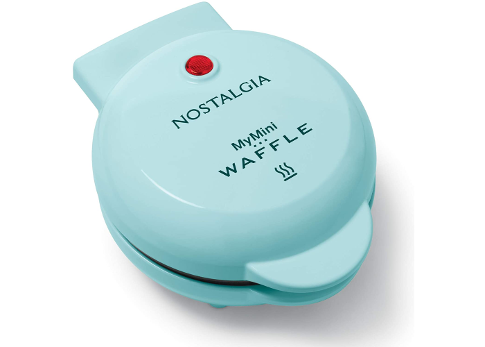 small round light blue waffle maker
