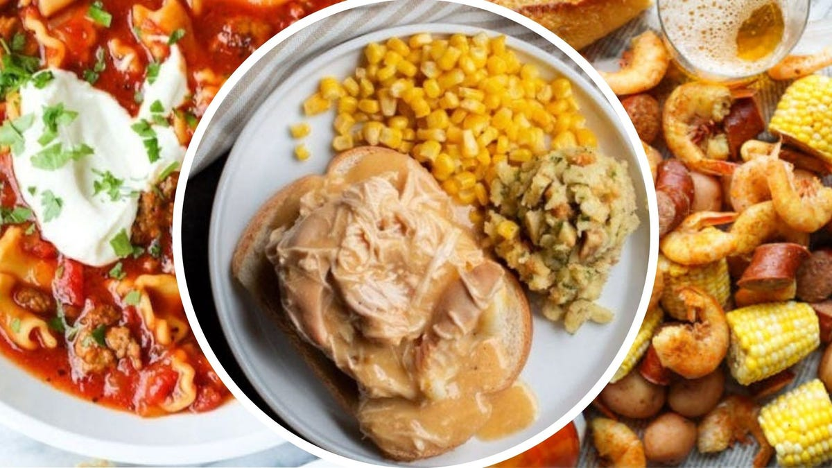 Lasagna soup topped with sour cream, a plate of chicken and gravy with corn and stuffing, and a platter of Slow Cooker Shrimp Boil with small ears of corn.