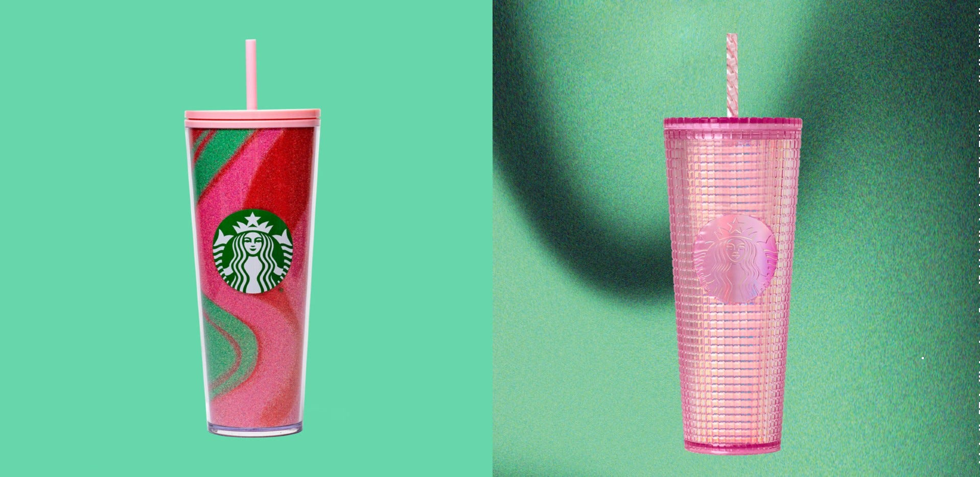 Two Starbucks holiday tumblers.