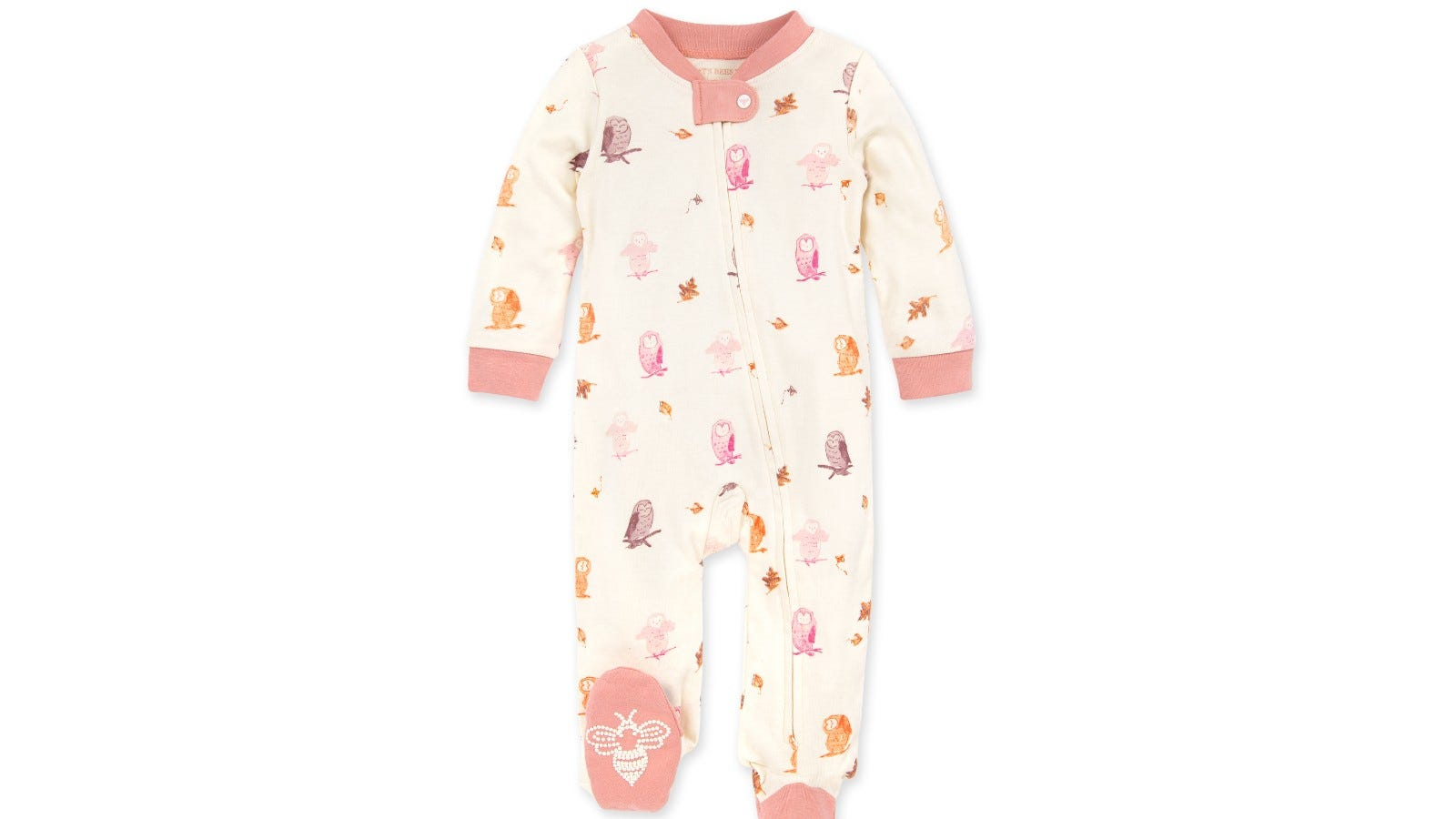 Owls and Leaves Organic Baby Zip Front Loose Fit Pajamas.