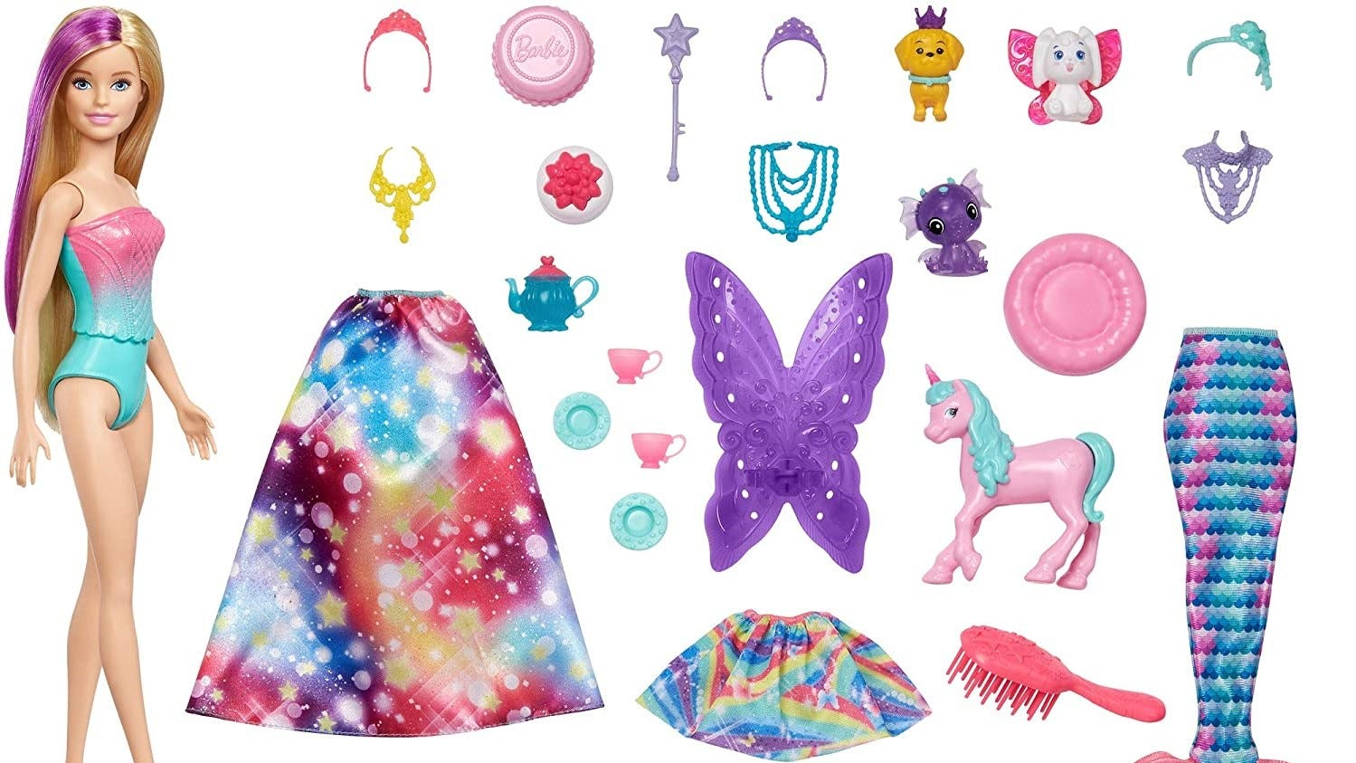 A Barbie doll and all the accessories that come in the Dreamtopia Advent Calendar.