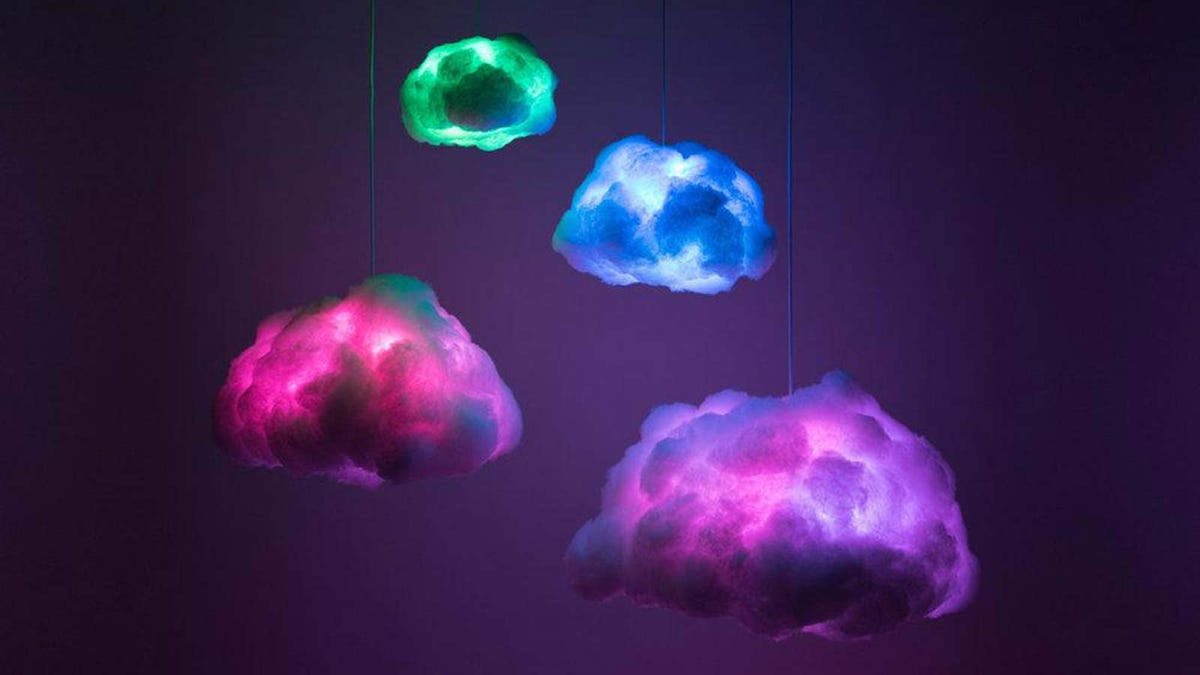 """RGB cloud lamps """"floating"""" in a room."""