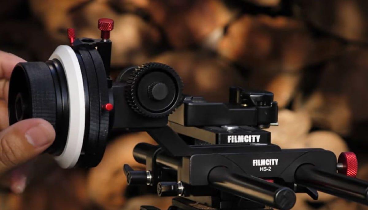 a Filmcity follow focus for a camera