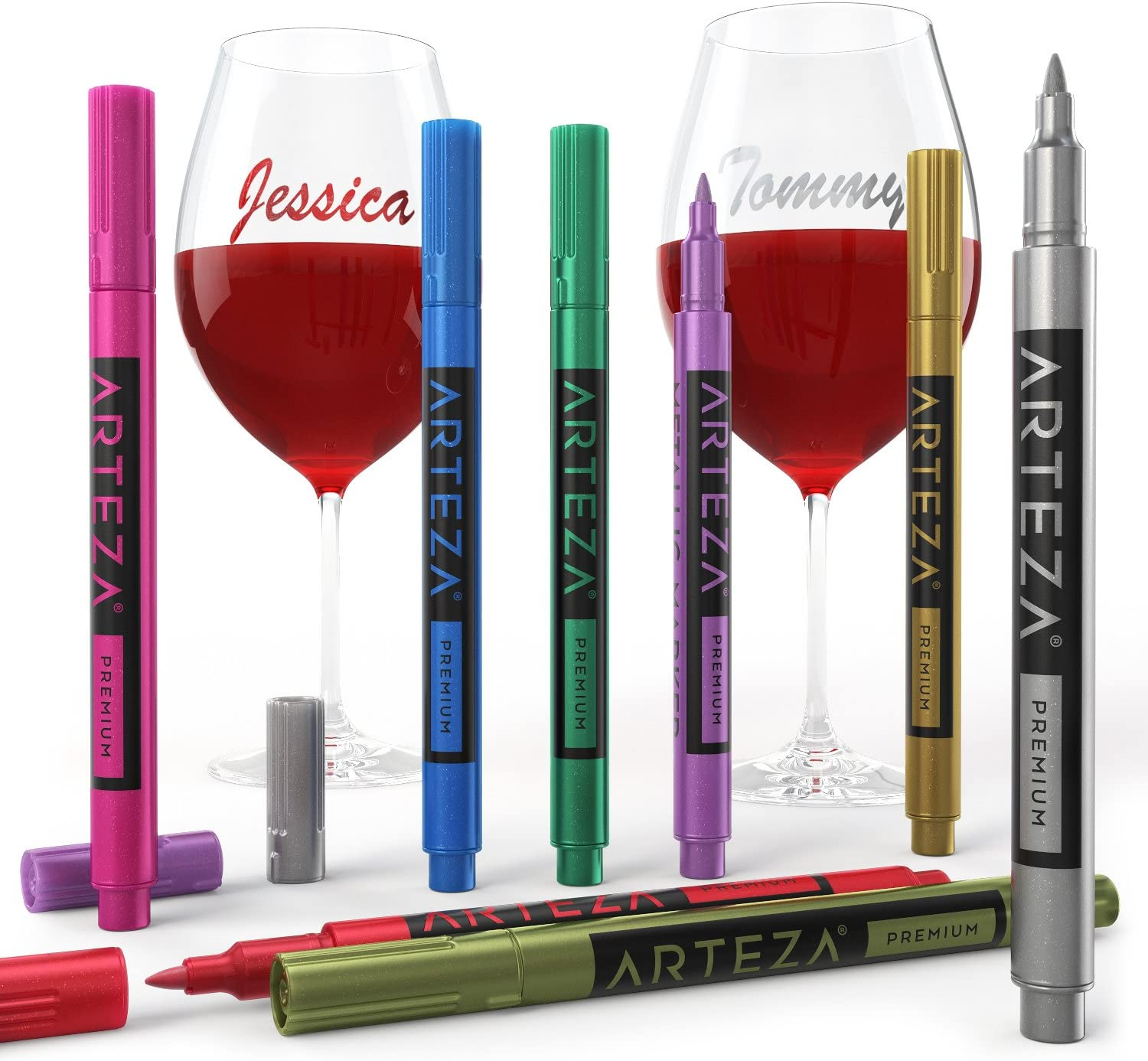 Markers and wine glasses labeled with names.