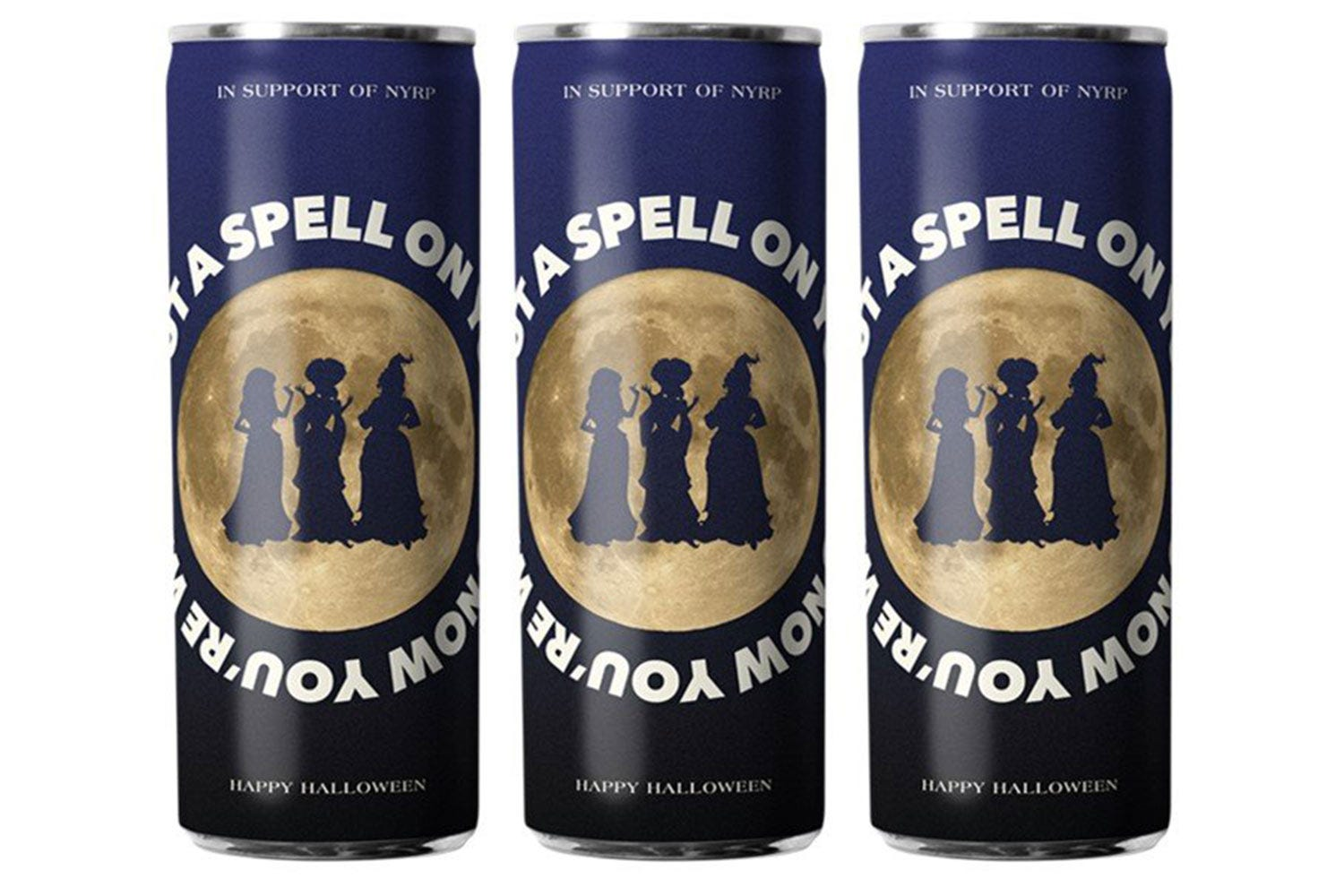 Three cans of white wine with the Sanderson sisters in front of a moon.