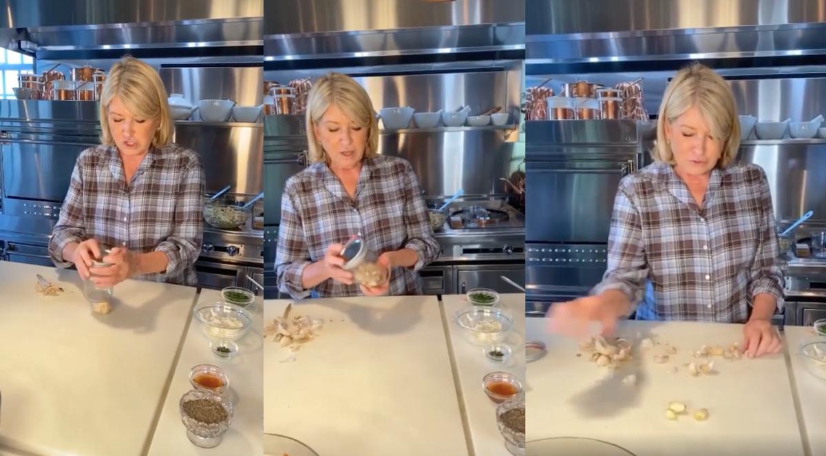 Three images of Martha Stewart peeling garlic on Instagram.