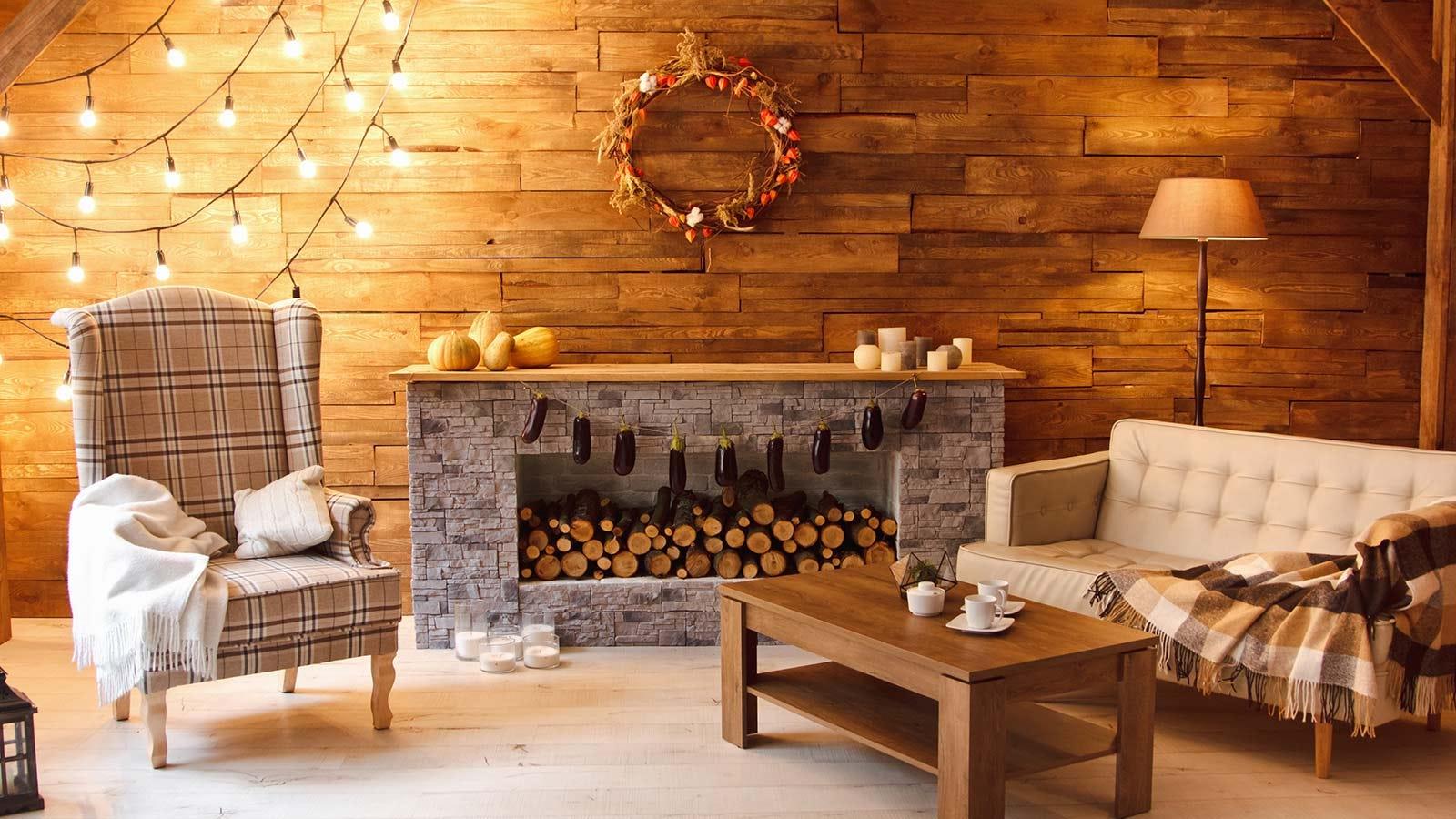 A warmly lit living room.