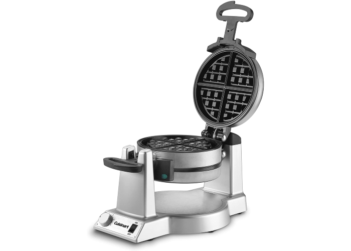 chrome and black waffle maker on a matching stand