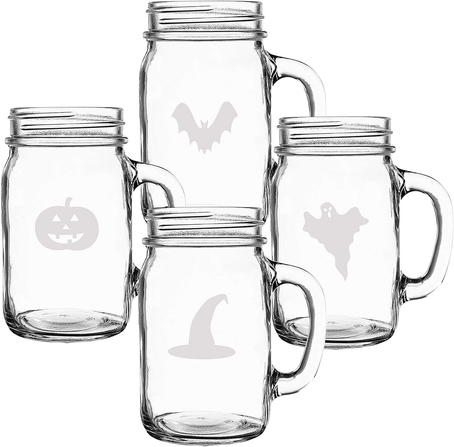 Four shot glasses with Halloween creatures etched into them.