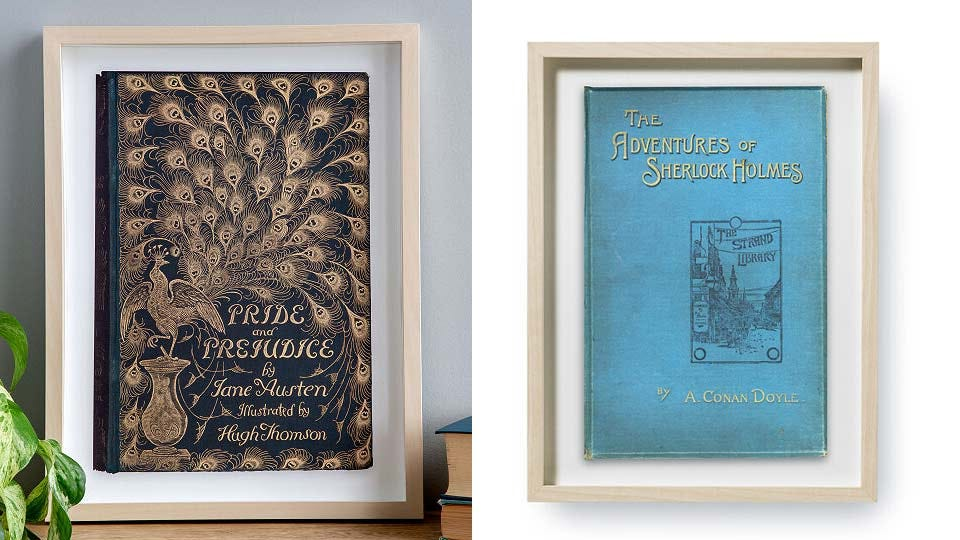 Wall art made from the first edition covers of classic books.