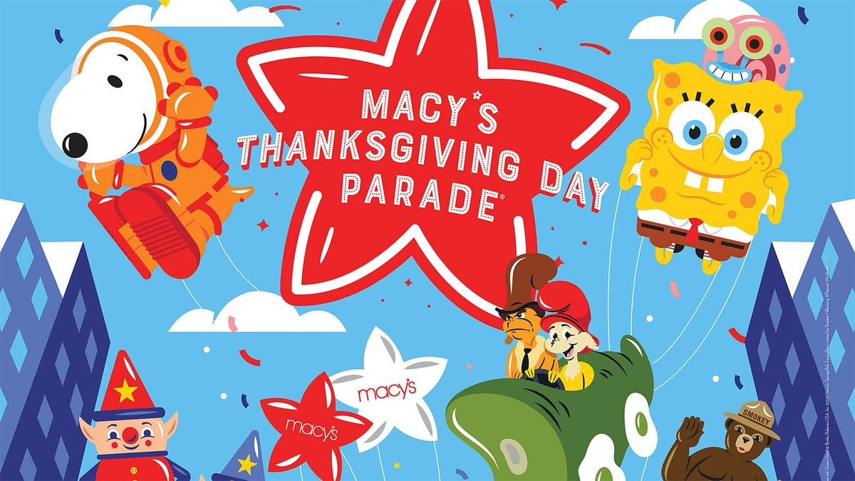 A promotional image for the Macy's Day Parade featuring the Macy's star, Snoopy, and Sponge Bob Squarepants.
