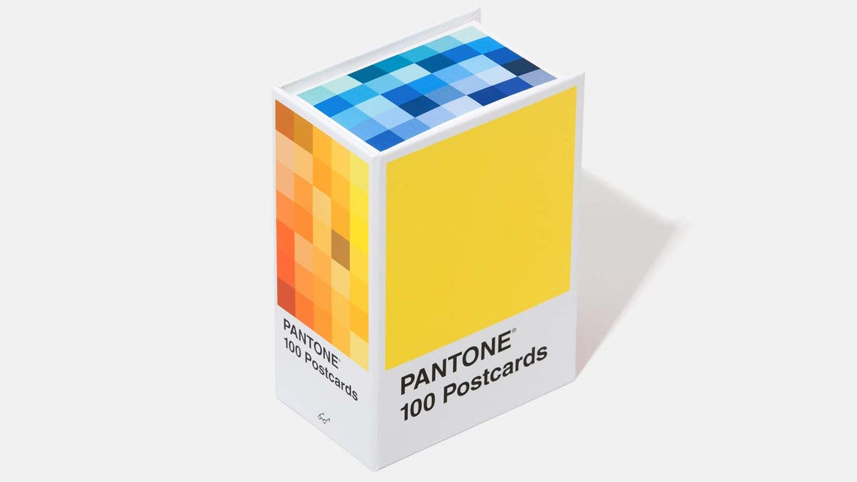 A box of Pantone color-matched cards.