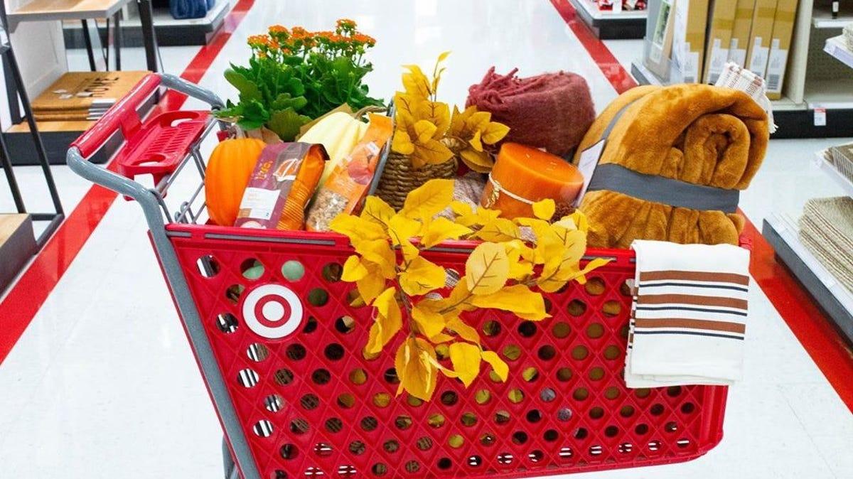 a target cart full of fall decor