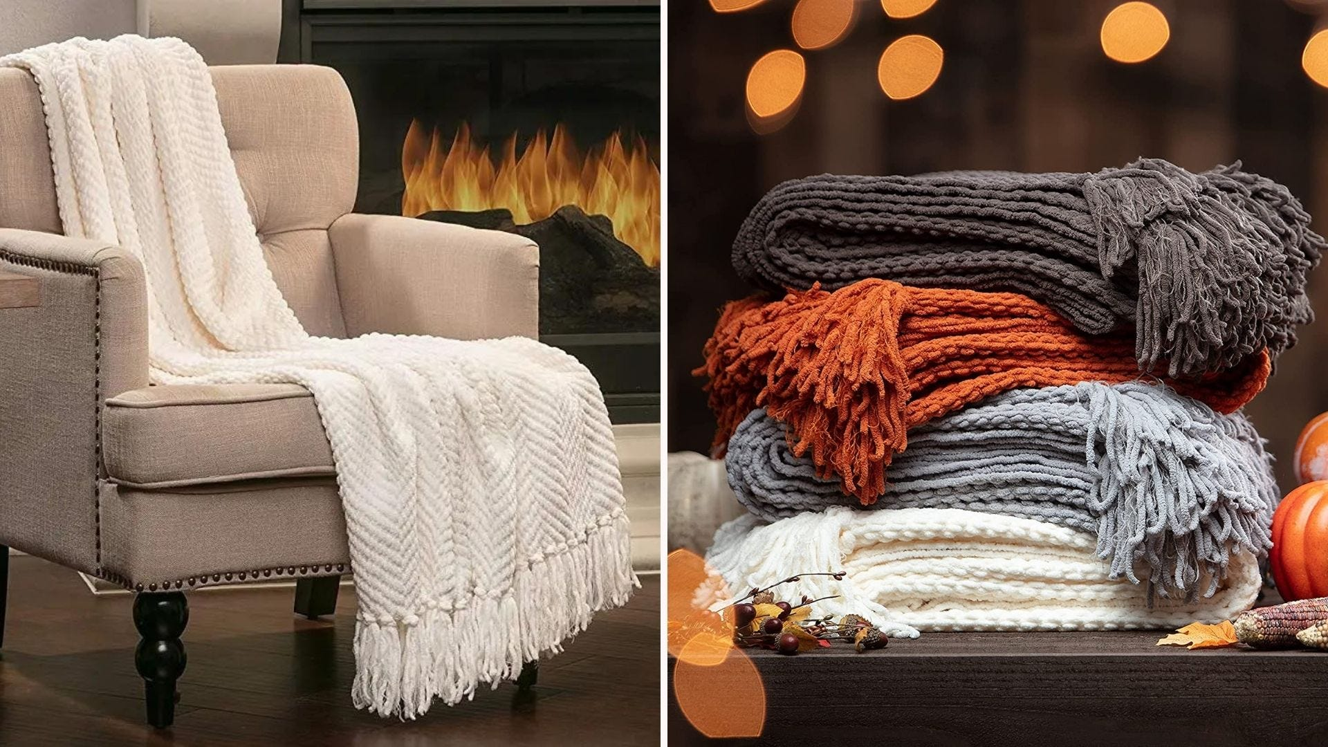 A throw draped over a chair by a fireplace and a stack of cozy blankets