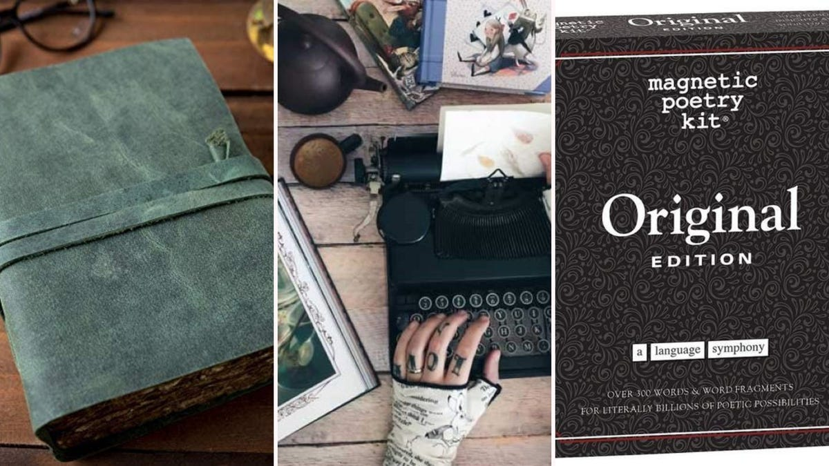 A green leather journal, someone wearing Alice in Wonderland fingerless gloves, and the Original Magnetic Poetry Kit.