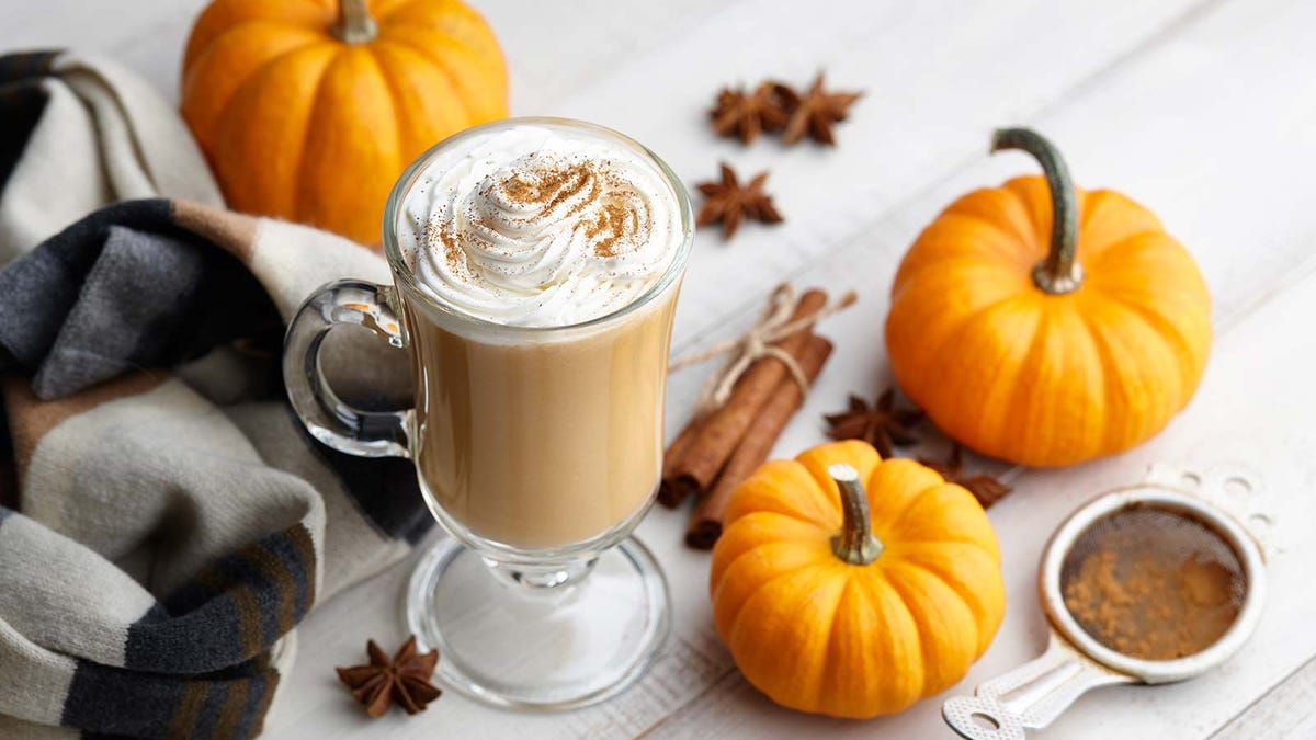 A pumpkin spice latte in a glass mug, surrounded by small pumpkins, spices, and a scarf.