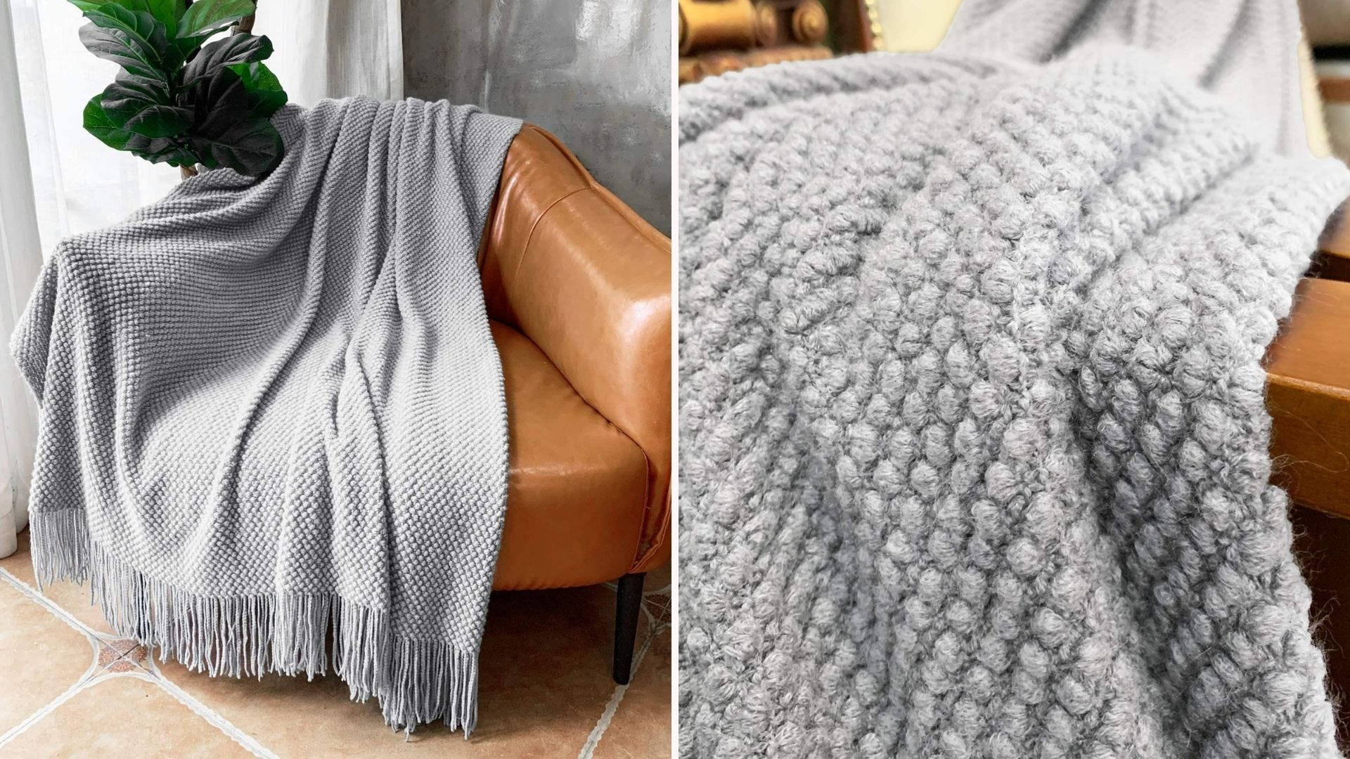 A chunky bubble-texture blanket.