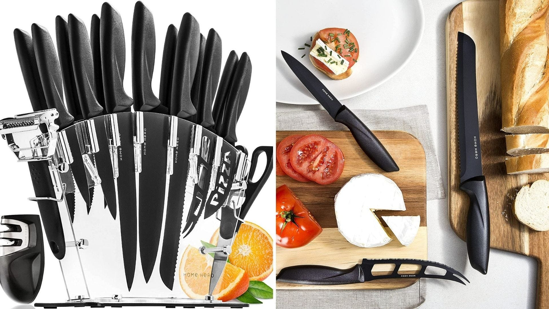 A Home Hero knife block set with some of the knives on a cutting board.